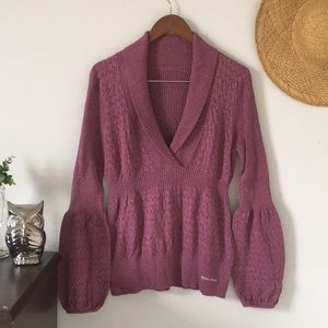 2/$15 Pink Bell Sleeve Collared Sweater